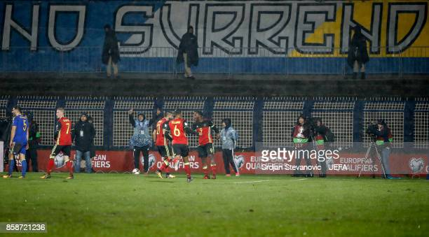 Romelu Lukaku of Belgium celebrate scoring the goal with the Yannick Carrasco and Leander Dendoncker during the FIFA 2018 World Cup Qualifier between...