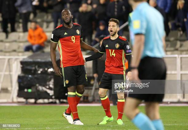 Romelu Lukaku of Belgium celebrates his goal with Dries Mertens during the FIFA 2018 World Cup Qualifier between Belgium and Greece at Stade Roi...