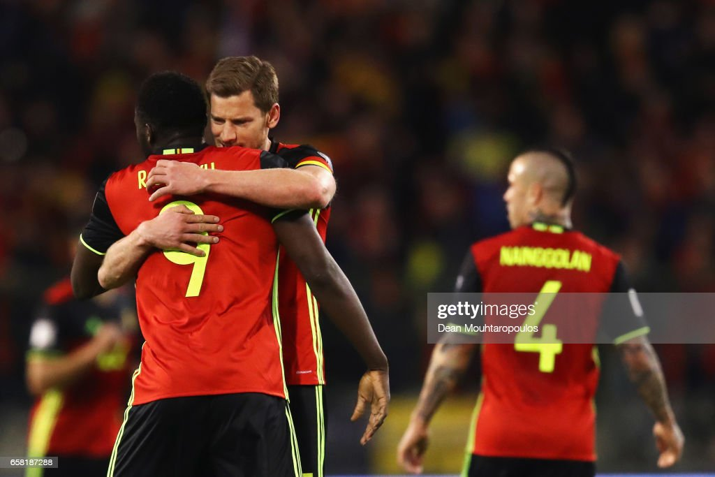 Romelu Lukaku of Belgium celebrates scoring his teams first goal of the game with team mate Jan Vertonghen during the FIFA 2018 World Cup Group H Qualifier match between Belgium and Greece at Stade Roi Baudouis on March 25, 2017 in Brussels, Belgium.