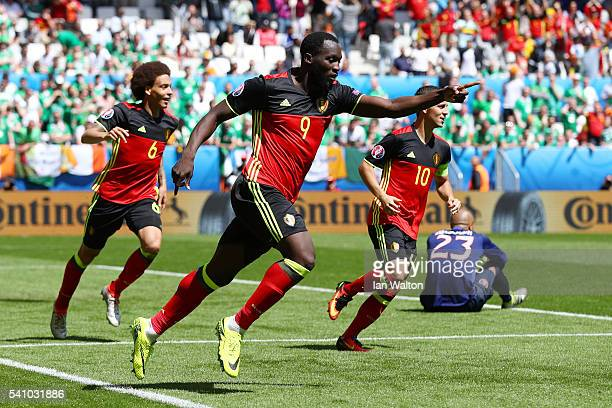 Romelu Lukaku of Belgium celebrates scoring his team's first goal during the UEFA EURO 2016 Group E match between Belgium and Republic of Ireland at...