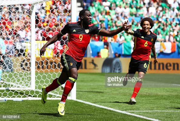 Romelu Lukaku of Belgium celebrates scoring his team's first goal during the UEFA EURO 2016 Group E match between Belgium and Republic of Ireland at...