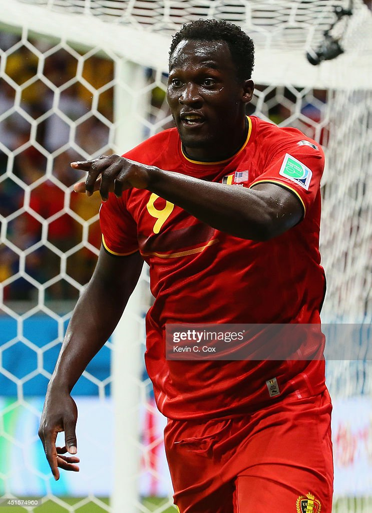 <a gi-track='captionPersonalityLinkClicked' href=/galleries/search?phrase=Romelu+Lukaku&family=editorial&specificpeople=6342802 ng-click='$event.stopPropagation()'>Romelu Lukaku</a> of Belgium celebrates scoring his team's second goal in extra time during the 2014 FIFA World Cup Brazil Round of 16 match between Belgium and the United States at Arena Fonte Nova on July 1, 2014 in Salvador, Brazil.