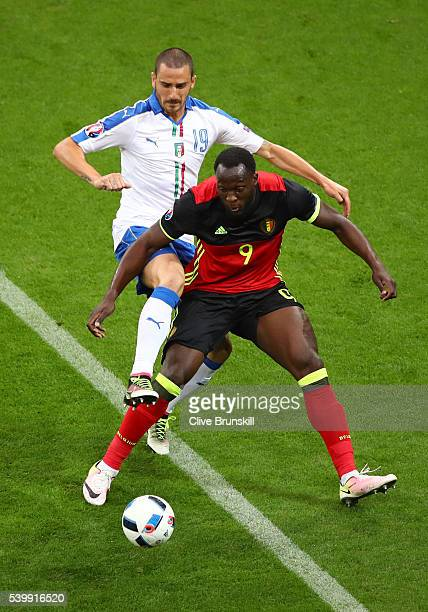 Romelu Lukaku of Belgium controls the ball under pressure of Leonardo Bonucci of Italy during the UEFA EURO 2016 Group E match between Belgium and...