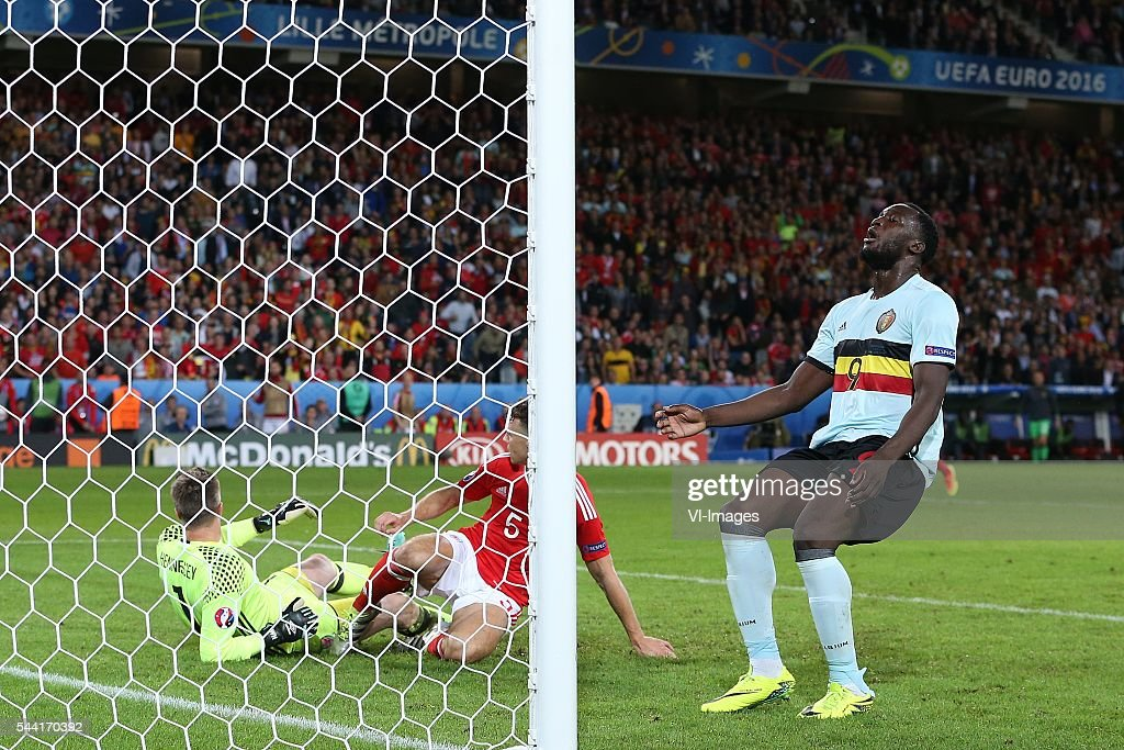 Romelu Lukaku of Belgium disappointed during the UEFA EURO 2016 quarter final match between Wales and Belgium on July 2, 2016 at the Stade Pierre Mauroy in Lille, France.