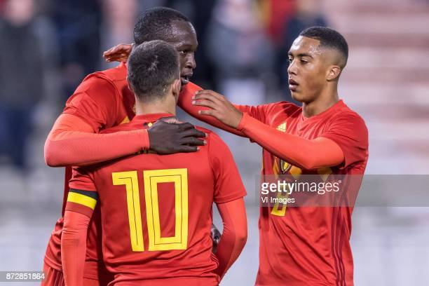 Romelu Lukaku of Belgium Eden Hazard of Belgium Youri Tielemans of Belgium during the friendly match between Belgium and Mexico on November 10 2017...