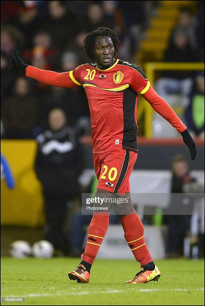 <a gi-track='captionPersonalityLinkClicked' href=/galleries/search?phrase=Romelu+Lukaku&family=editorial&specificpeople=6342802 ng-click='$event.stopPropagation()'>Romelu Lukaku</a> of Belgium gestures during a FIFA international friendly match between Belgium and Slovakia at theJan Breydel stadium on February 06, 2013 in Brugge, Belgium.