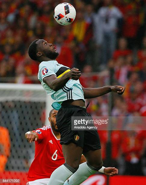 Romelu Lukaku of Belgium in action against Ashley Williams of Wales during the Euro 2016 quarterfinal football match between Wales and Belgium at the...