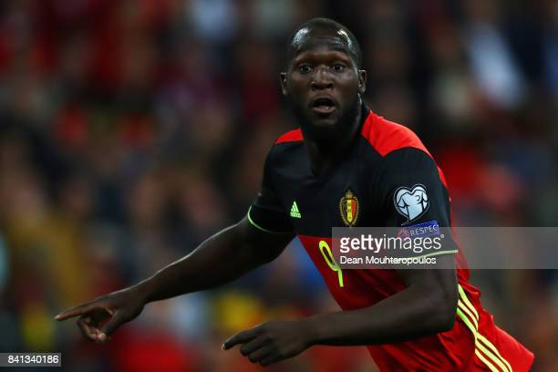 Romelu Lukaku of Belgium in action during the FIFA 2018 World Cup Qualifier between Belgium and Gibraltar at Stade Maurice Dufrasne on August 31 2017...