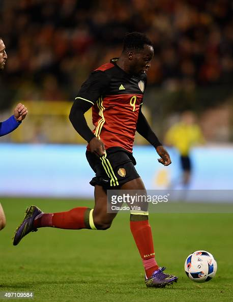 Romelu Lukaku of Belgium in action during the international friendly match between Belgium and Italy at King Baudouin Stadium on November 13 2015 in...