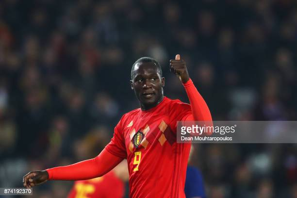 Romelu Lukaku of Belgium reacts during the international friendly match between Belgium and Japan held at Jan Breydel Stadium on November 14 2017 in...
