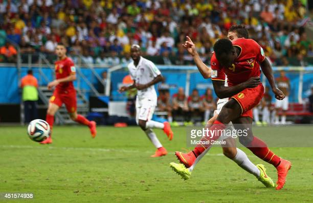 Romelu Lukaku of Belgium scores his team's second goal in extra time during the 2014 FIFA World Cup Brazil Round of 16 match between Belgium and the...