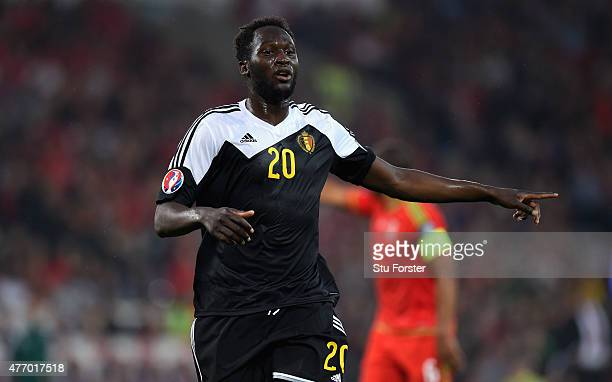 Romelu Lukaku of Belguim in action during the UEFA EURO Group B 2016 Qualifier between Wales and Belguim at Cardiff City stadium on June 12 2015 in...