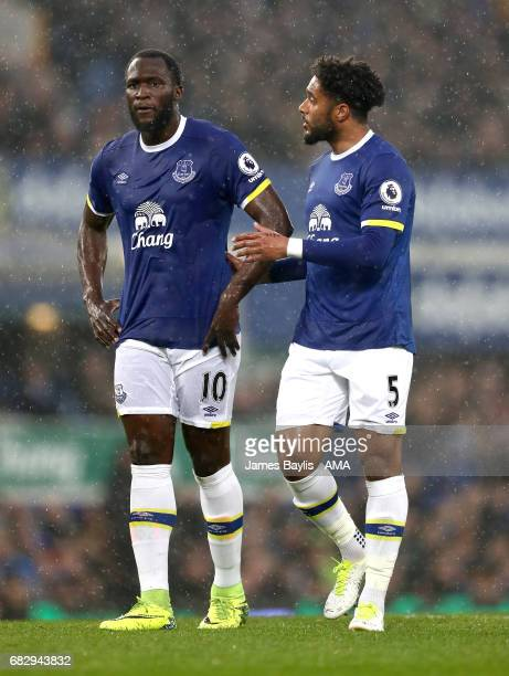 Romelu Lukaku of Everton and Ashley Williams of Everton during the Premier League match between Everton and Watford at Goodison Park on May 12 2017...