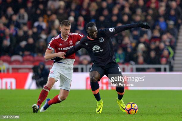 Romelu Lukaku of Everton and Ben Gibson of Middlesbrough compete for the ball during the Premier League match between Middlesbrough and Everton at...