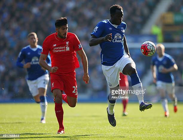 Romelu Lukaku of Everton and Emre Can of Liverpool in action during the Barclays Premier League match between Everton and Liverpool at Goodison Park...