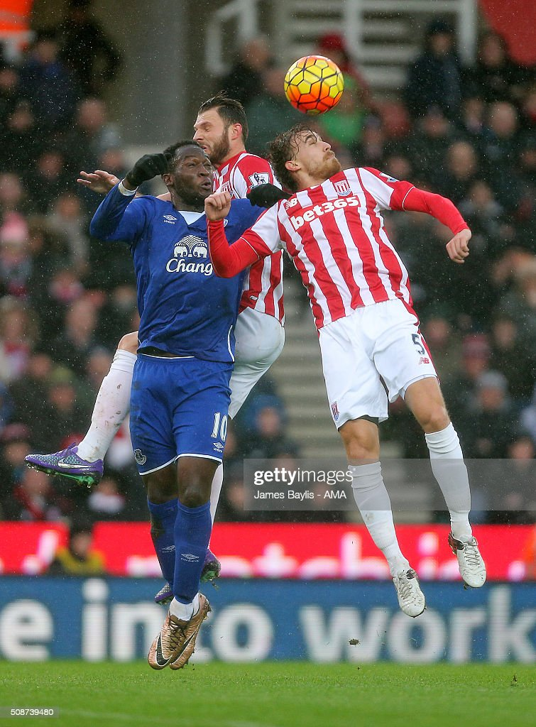Romelu Lukaku of Everton and Marc Muniesa of Stoke City during the Barclays Premier League match between Stoke City and Everton at the Britannia Stadium on February 06, 2016 in Stoke-on-Trent, England.