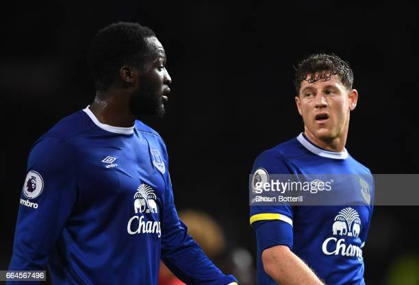 Romelu Lukaku of Everton and Ross Barkley of Everton speak during the Premier League match between Manchester United and Everton at Old Trafford on...