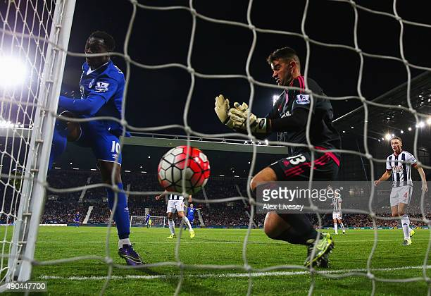 Romelu Lukaku of Everton beats goalkeeper Boaz Myhill of West Bromwich Albion as he scores their third goal during the Barclays Premier League match...