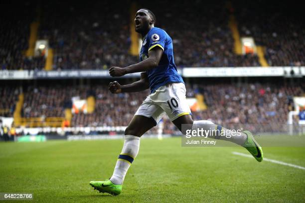 Romelu Lukaku of Everton celebrates after he scores his sides first goal during the Premier League match between Tottenham Hotspur and Everton at...