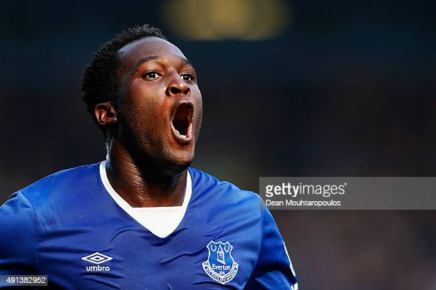 Romelu Lukaku of Everton celebrates after scoring Everton's first goal during the Barclays Premier League match between Everton and Liverpool at...
