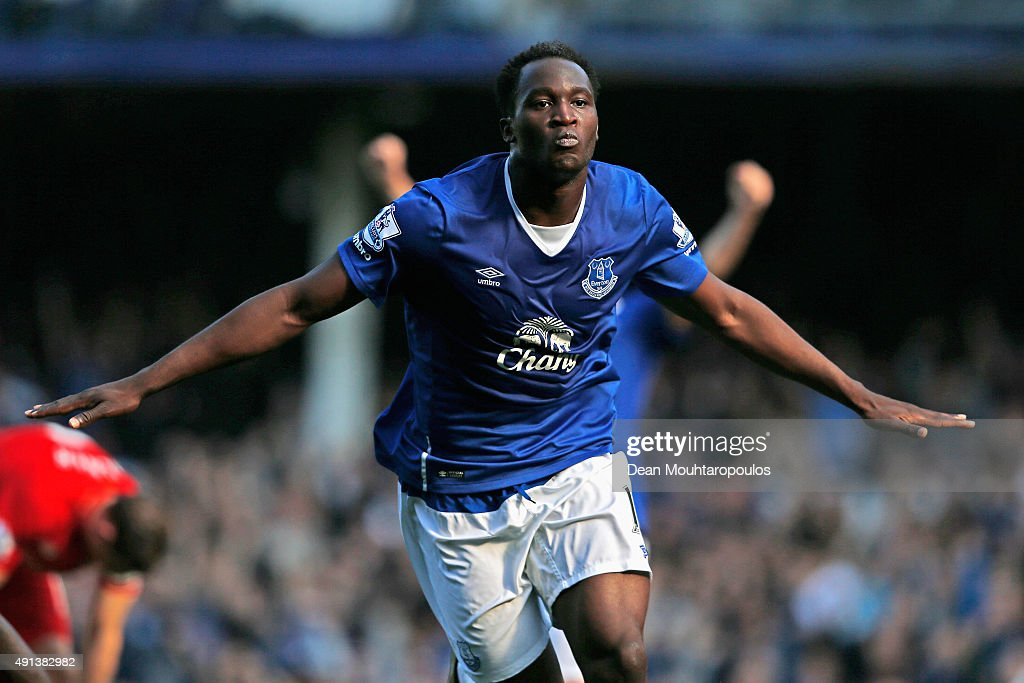 Romelu Lukaku of Everton celebrates after scoring Everton's first goal during the Barclays Premier League match between Everton and Liverpool at Goodison Park on October 4, 2015 in Liverpool, England.