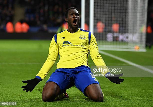 Romelu Lukaku of Everton celebrates after scoring his team's second goal during the Premier League match between Leicester City and Everton at The...