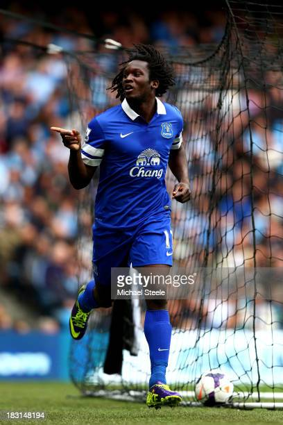 Romelu Lukaku of Everton celebrates after scoring the opening goal during the Barclays Premier League match between Manchester City and Everton at...