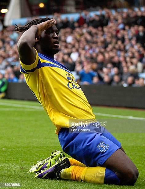 Romelu Lukaku of Everton celebrates after scoring the opening goal during the Barclays Premier League match between Aston Villa and Everton at Villa...