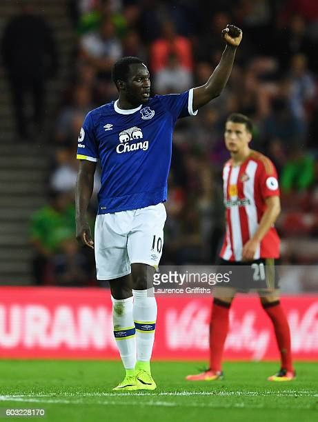 Romelu Lukaku of Everton celebrates as he scores their second goal during the Premier League match between Sunderland and Everton at Stadium of Light...