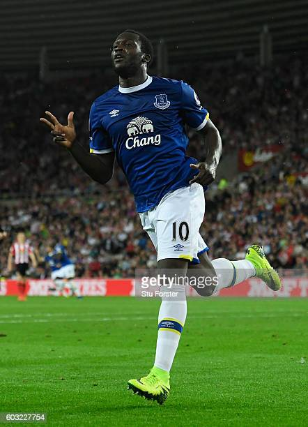 Romelu Lukaku of Everton celebrates as he scores their third goal and completes his hat trick during the Premier League match between Sunderland and...