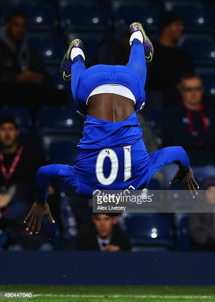 Romelu Lukaku of Everton celebrates as he scores their third goal during the Barclays Premier League match between West Bromwich Albion and Everton...