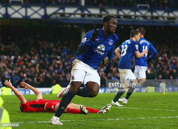 Romelu Lukaku of Everton celebrates as Matthew Upson of Leicester City scores an own goal for their second goal during the Barclays Premier League...