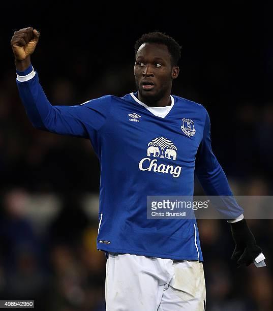 Romelu Lukaku of Everton celebrates at fulltime following the Barclays Premier League match between Everton and Aston Villa at Goodison Park on...