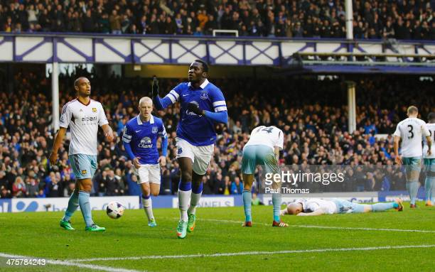 Romelu Lukaku of Everton celebrates his goal during the Barclays Premier League match between Everton and West Ham United at Goodison Park on March 1...
