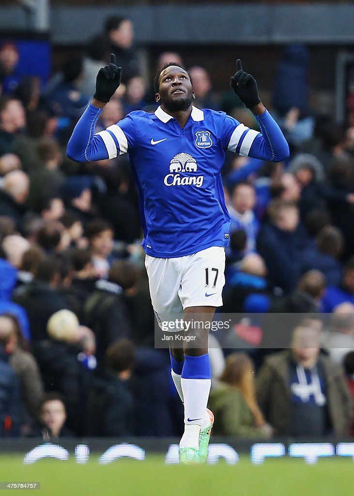<a gi-track='captionPersonalityLinkClicked' href=/galleries/search?phrase=Romelu+Lukaku&family=editorial&specificpeople=6342802 ng-click='$event.stopPropagation()'>Romelu Lukaku</a> of Everton celebrates his goal during the Barclays Premier League match between Everton and West Ham United at Goodison Park on March 1, 2014 in Liverpool, England.