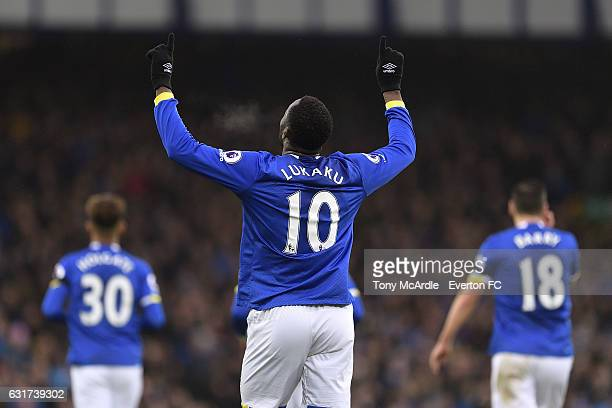 Romelu Lukaku of Everton celebrates his goal during the Barclays Premier League match between Everton and Manchester City at Goodison Park on January...