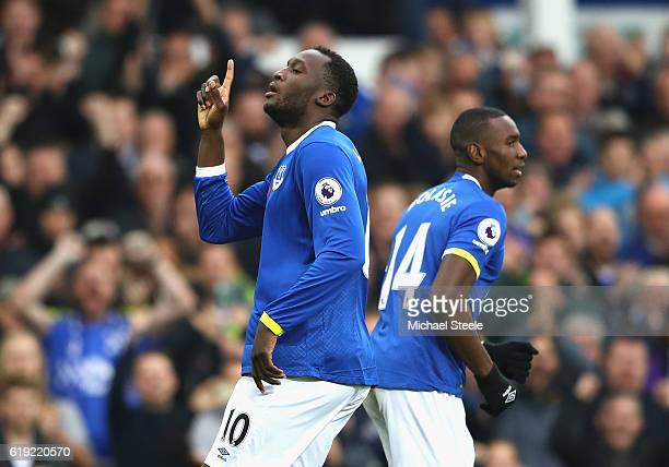 Romelu Lukaku of Everton celebrates scoring his sides first goal during the Premier League match between Everton and West Ham United at Goodison Park...