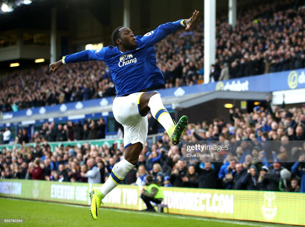 Romelu Lukaku of Everton celebrates scoring his sides first goal during the Premier League match between Everton and AFC Bournemouth at Goodison Park on February 4, 2017 in Liverpool, England.