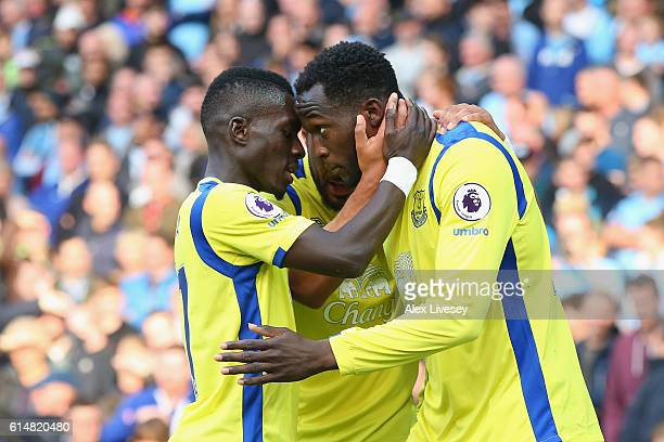 Romelu Lukaku of Everton celebrates scoring his sides first goal with his team mate Idrissa Gueye of Everton during the Premier League match between...