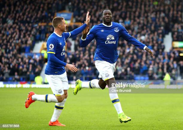 Romelu Lukaku of Everton celebrates scoring his sides first goal with Ross Barkley of Everton during the Premier League match between Everton and AFC...