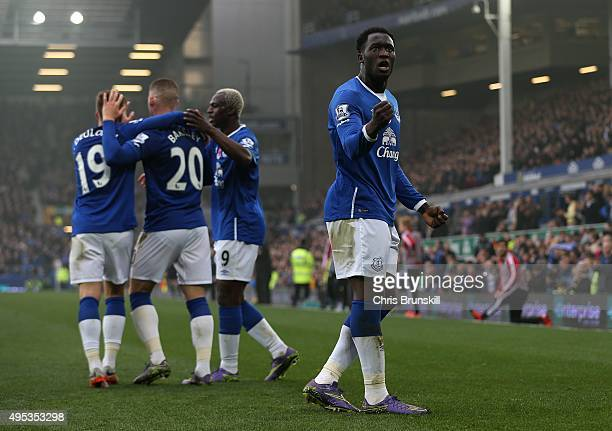Romelu Lukaku of Everton celebrates scoring his side's fourth goal during the Barclays Premier League match between Everton and Sunderland at...