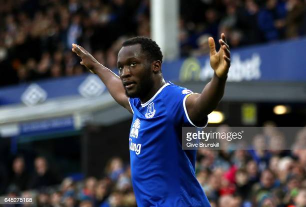 Romelu Lukaku of Everton celebrates scoring his sides second goal during the Premier League match between Everton and Sunderland at Goodison Park on...