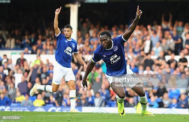 Romelu Lukaku of Everton celebrates scoring his sides third goal during the Premier League match between Everton and Middlesbrough at Goodison Park...