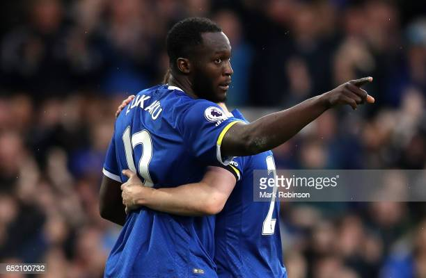 Romelu Lukaku of Everton celebrates scoring his sides third goal during the Premier League match between Everton and West Bromwich Albion at Goodison...