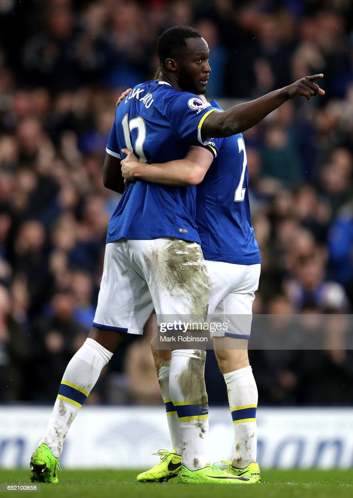 Romelu Lukaku of Everton celebrates scoring his sides third goal during the Premier League match between Everton and West Bromwich Albion at Goodison Park on March 11, 2017 in Liverpool, England.