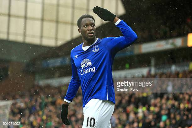 Romelu Lukaku of Everton celebrates scoring his team's first goal during the Barclays Premier League match between Norwich City and Everton at Carrow...