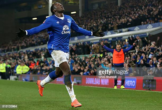 Romelu Lukaku of Everton celebrates scoring his team's first goal during the Emirates FA Cup sixth round match between Everton and Chelsea at...
