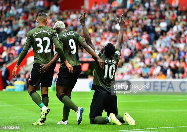 Romelu Lukaku of Everton celebrates scoring his team's first goal with his team mates Brendan Galloway and Arouna Kone during the Barclays Premier...