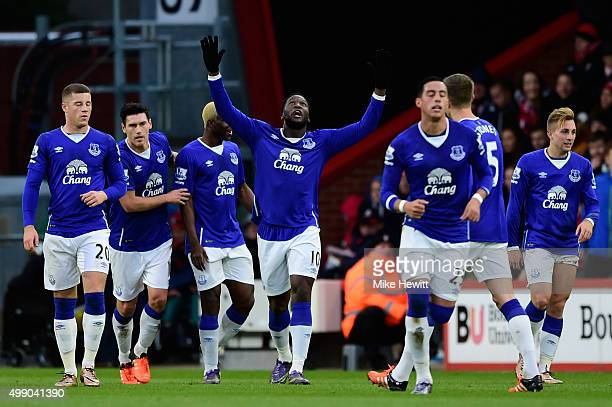 Romelu Lukaku of Everton celebrates scoring his team's first goal with his team matesduring the Barclays Premier League match between AFC Bournemouth...