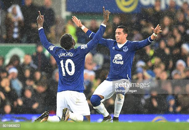 Romelu Lukaku of Everton celebrates scoring his team's first goal with his team mate Ramiro Funes Mori during the Barclays Premier League match...